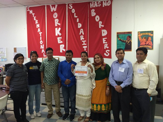 Bangladeshi union representatives stand in solidarity with SF Leather workers in Turkey