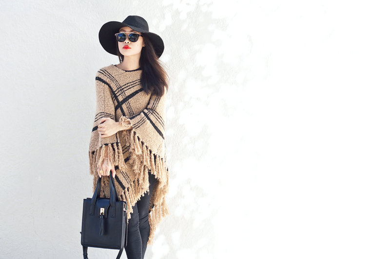 01-plaid-knit-fringe-poncho-hat-sf-fashion-style
