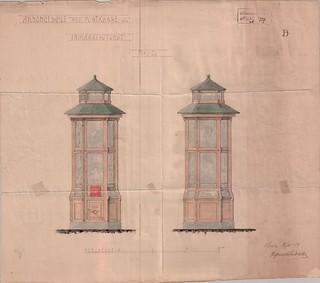 Forslag til Annoncesøile med Postkasse og Frimærkeautomat (1914)