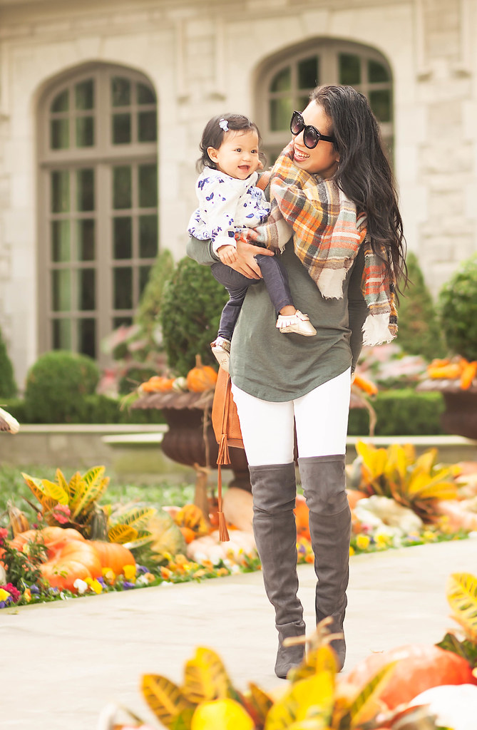 cute & little blog | petite fashion | olive green tunic, white jeans, steve madde gorgeous grey over knee thigh high boots, fringe bucket bag, plaid blanket scarf | fall outfit