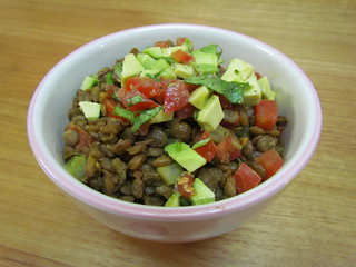 Brown Lentil Stew with Avocado Salsa