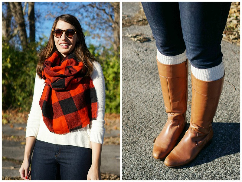 boots sweater buffalo plaid scarf