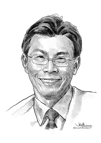 Portrait in cross hatching for IE Singapore - Mr Lee Yi Shyan