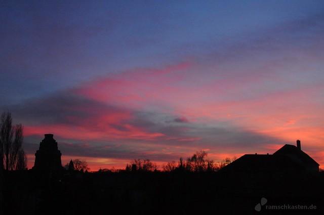 Sonnenuntergang Winter Leipzig