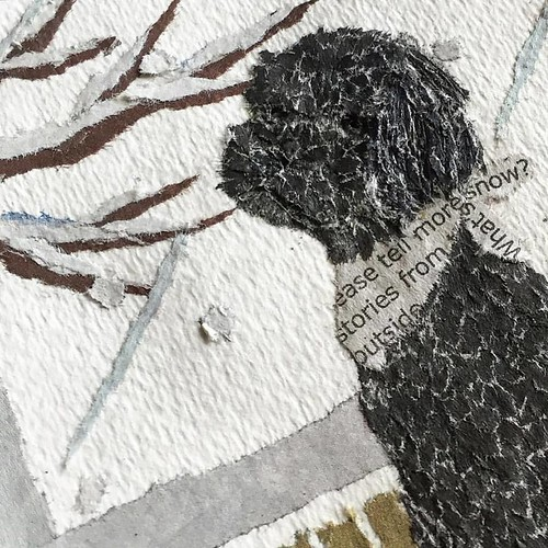 Paper Art Collage - Black Poodle Detail