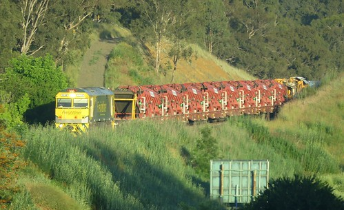 Heading towards the early morning sun, GL112 brings it's track maintenance train through Blandford, NSW