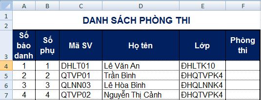 [Excel] Đánh số thứ tự lặp lại theo chu kỳ và tự động xếp phòng thi