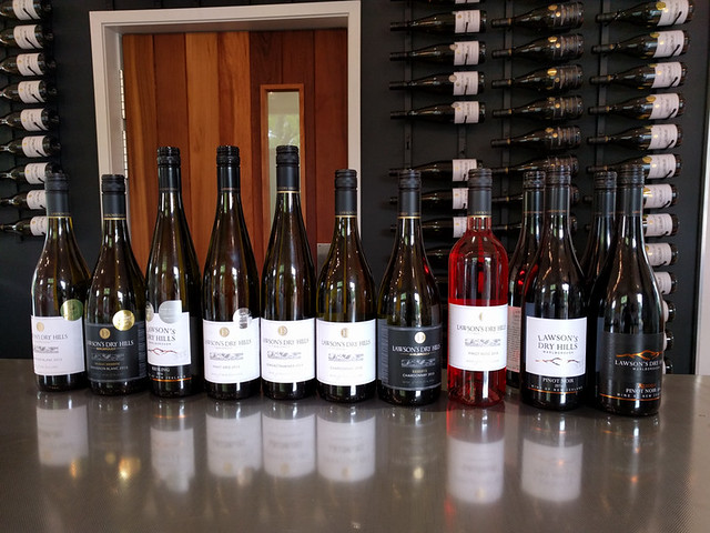 wine lineup @ Lawson's Dry Hills