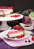 Portion of raspberry cheesecake