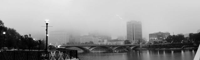 foggy downtown
