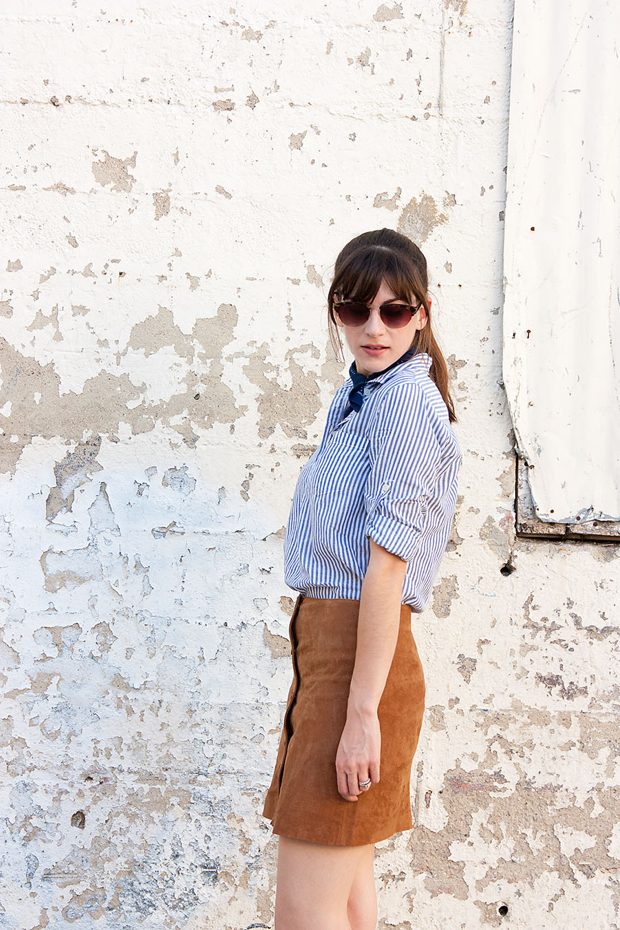 70's inspired summer outfit, Tan Suede Skirt, J.Crew Striped Shirt