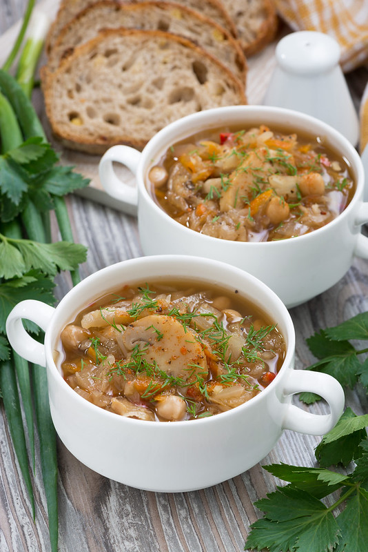 soup with pickled cabbage, chickpeas and mushrooms