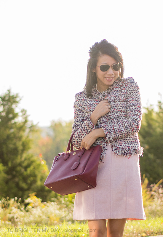 pearl necklace, tweed jacket, rose pink wool dress, red purple tote