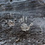Hand prints, Narrows trail, Zion