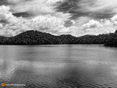 sky blackandwhite bw lake mountains water monochrome clouds landscape mono outdoor northcarolina panasonic hiwasseedam fz200