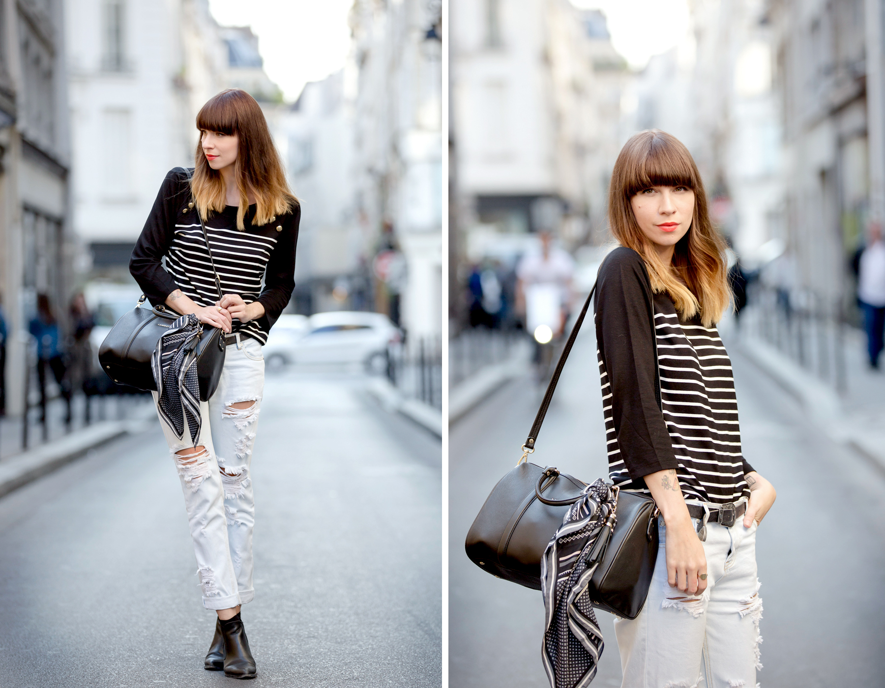 outfit ootd lancaster bag striped shirt paris fashionweek pfw le marais parisienne chic fashionblogger cats & dogs blog ricarda schernus 6