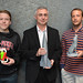 Professor Nebojsa Jaksic (middle), and student employees of the 3D Print Lab in the Engineering Department, Bryan McKimson (left) and Tim Roush (right) show off  objects printed with the 3d printer