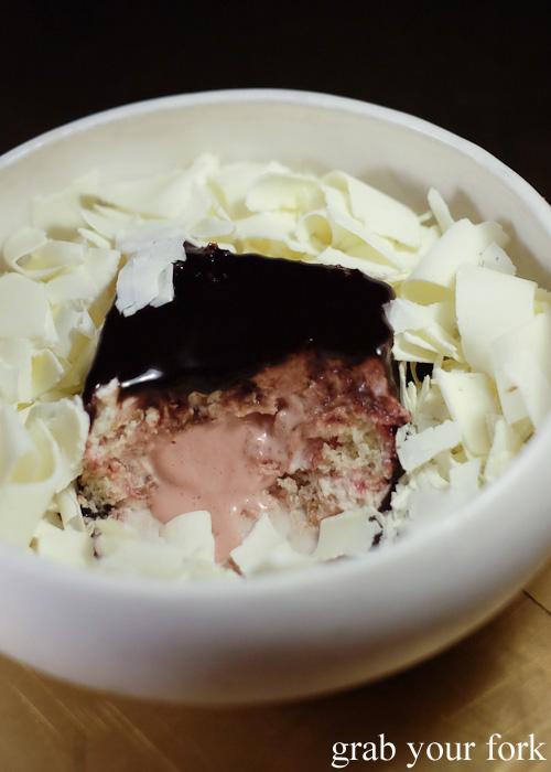 Inside the cherry jam lamington at Bennelong Restaurant, Sydney food blog restaurant review