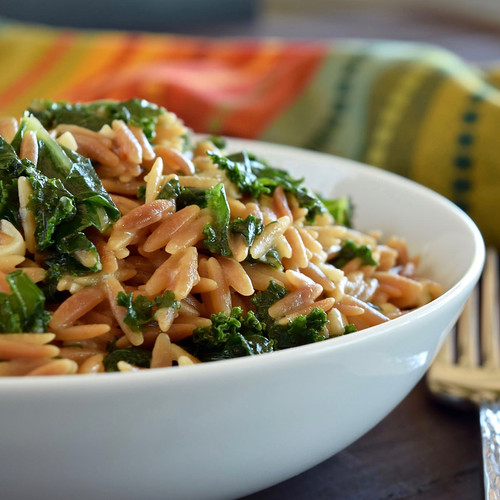 toasted orzo with kale, basil, and pecorino romano