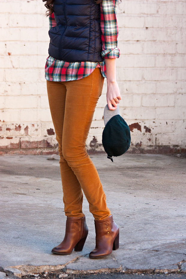 Gold Corduroy Pants, Madewell Jeans, Sole Society Booties, J.Crew Wool Ballcap, Navy Vest, J.Crew Plaid Shirt