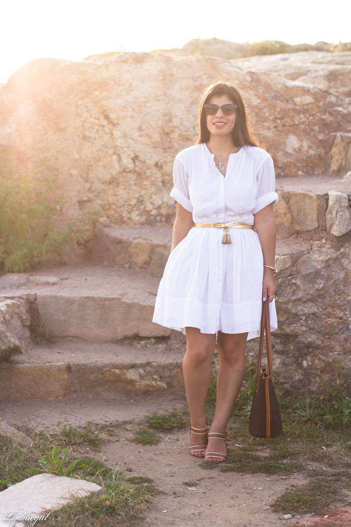 white shirt dress, gold tassel belt, brown sandals.jpg