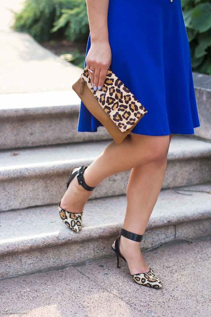 cobalt dress, leopard pumps and clutch-7.jpg