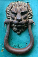 boas(0.0), serpent(0.0), reptile(0.0), horn(0.0), carving(1.0), sculpture(1.0), head(1.0), door knocker(1.0), iron(1.0), organ(1.0),