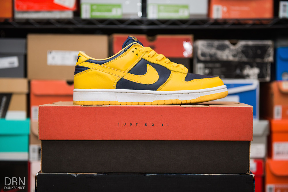 Reverse Michigan Dunk Lows.