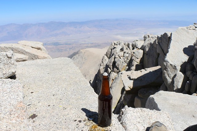 Enjoying a custom home brew on the Summit of Mount Langley