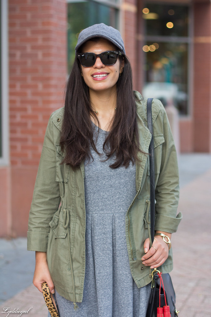 grey sweatshirt dress, field jacket, wool ball cap, dog walking-8.jpg