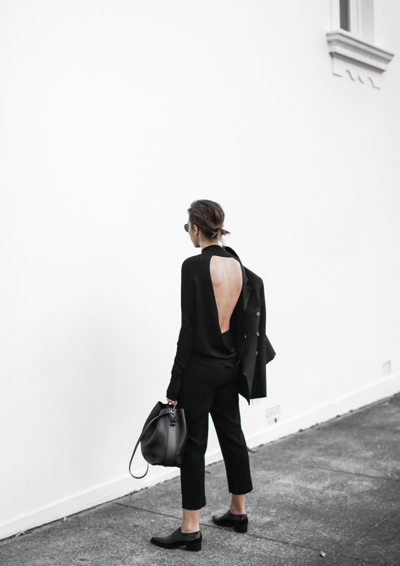 dion lee open back knit, all black outfit, street style, fall, Ellery blazer, Stella McCartney loafers, workwear, MODERN LEGACY blog (1 of 1)