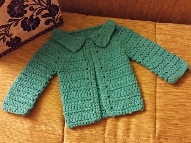 Completed crochet boy's baby hat & sweater in cotton. 9.2015