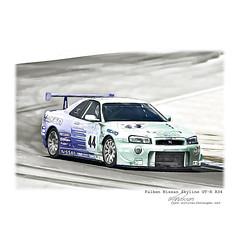 Falken Nissan Skyline GT-R R34 #car #carporn #NISMO #cardrawing #Pencildrawing by www.autozeichnungen.net