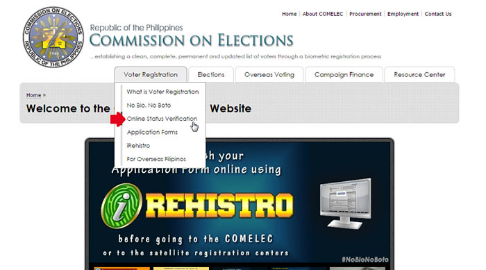 Verify voters status online step 2