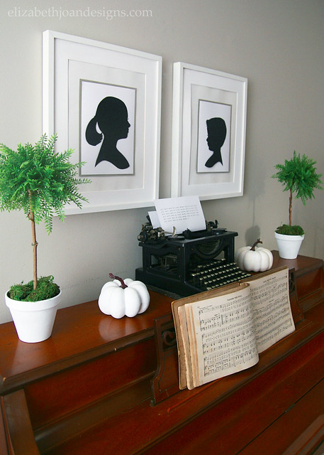 Fall Piano Typewriter Silhouettes