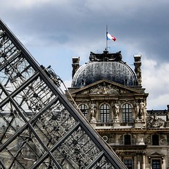 Window cleaning at the entrance to the Louvre in Paris, France. #travel #paris #france