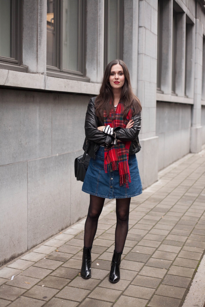 Outfit: leather jacket, plaid scarf, striped top and denim a-line skirt