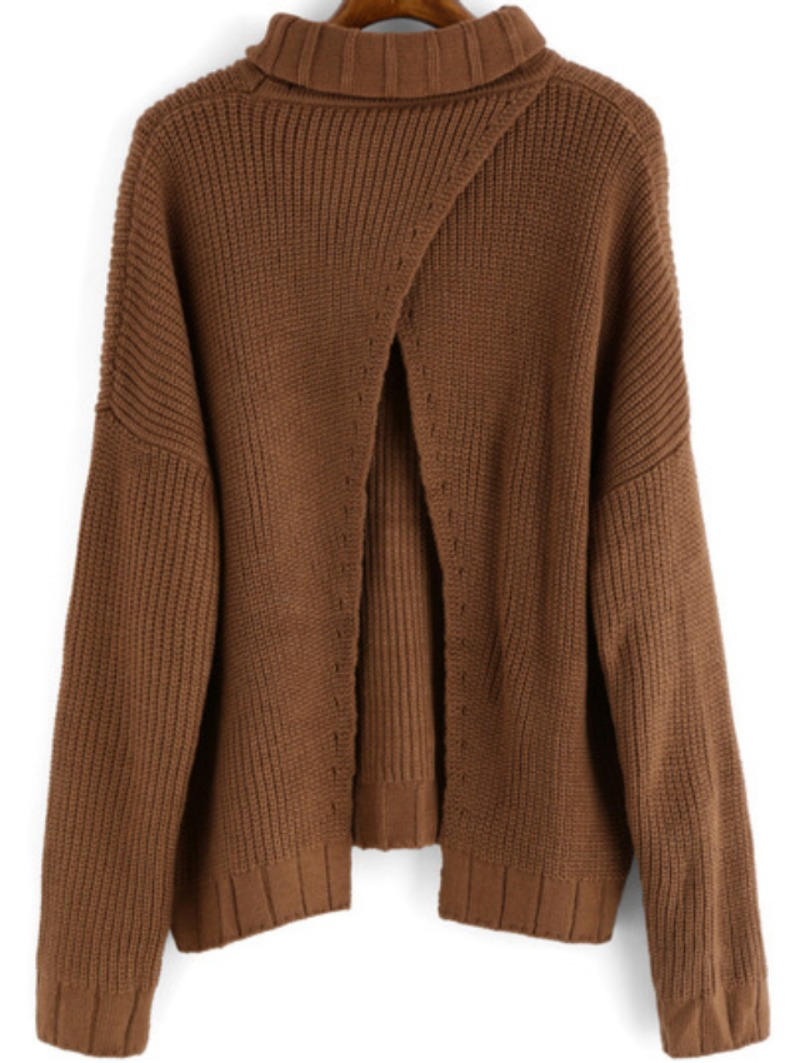 Winter is Coming: SheIn's Khaki High Neck Split Loose Sweater