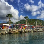 Marigot, St. Martin -- the capital of the French side of the island. Photo was taken from the sea/west side of the island while we were driving a rhino, a sort of unflippable motorized speed raft invented by the folks at Rhino Safaris. Talk about a grea