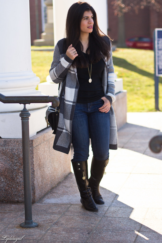 grey plaid sweater, yoga jeans, black knee high boots-3.jpg