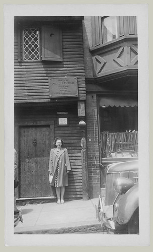 Woman in front of building