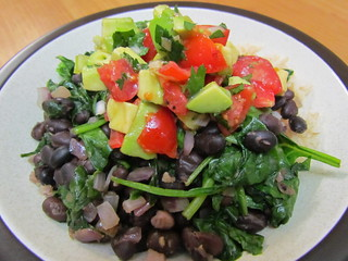 Black Beans and Spinach with Tomato-Avocado Salsa
