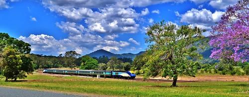 XPT departs Mount George, NSW, Australia