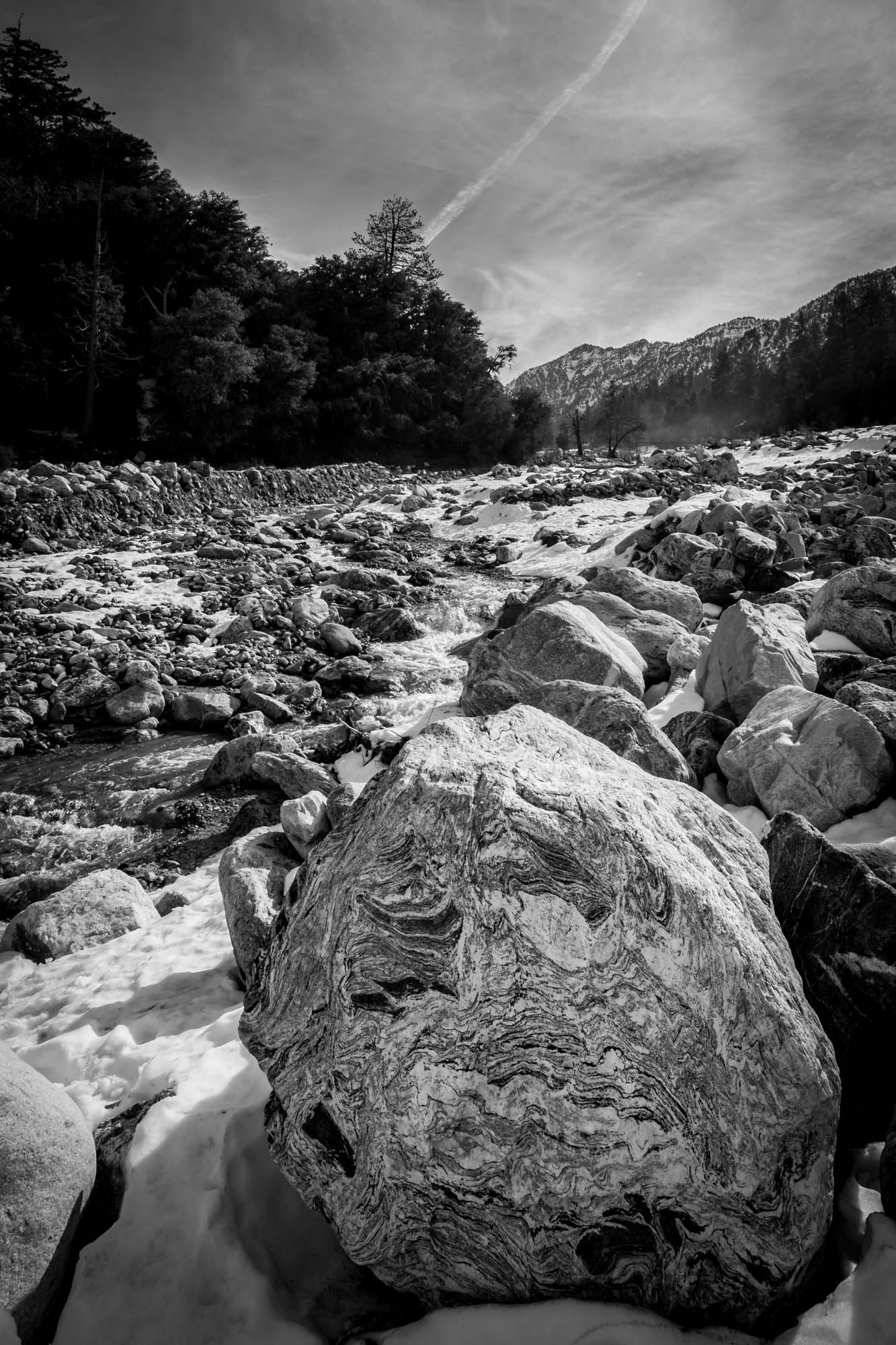 Landscape Rock Yucaipa : Rocks water stream sky trees river landscape photography clouds