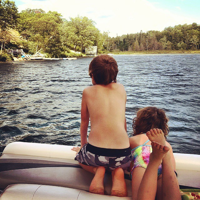 Enjoying the pontoon! #CottageLife #KidsLife #MethuenLake