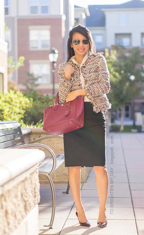 tweed jacket, white cowl top, black pencil skirt, burgundy pumps