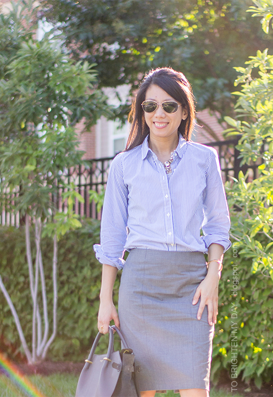 jeweled necklace, blue stripe button up shirt, gray pencil skirt