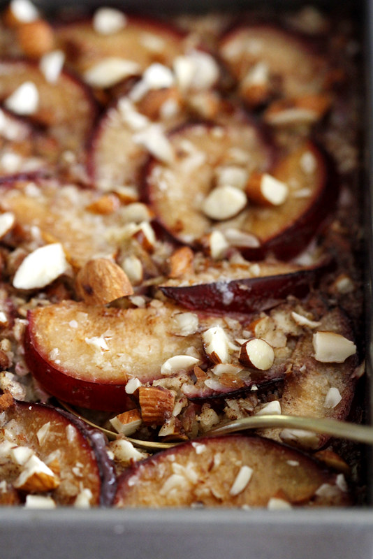 Cinnamon Plum Baked Oatmeal with Toasted Almonds | girlversusdough.com @girlversusdough #breakfast #oatmeal #healthy #recipe