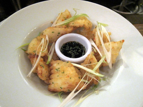 Tempura squid with soy and coriander dipping sauce
