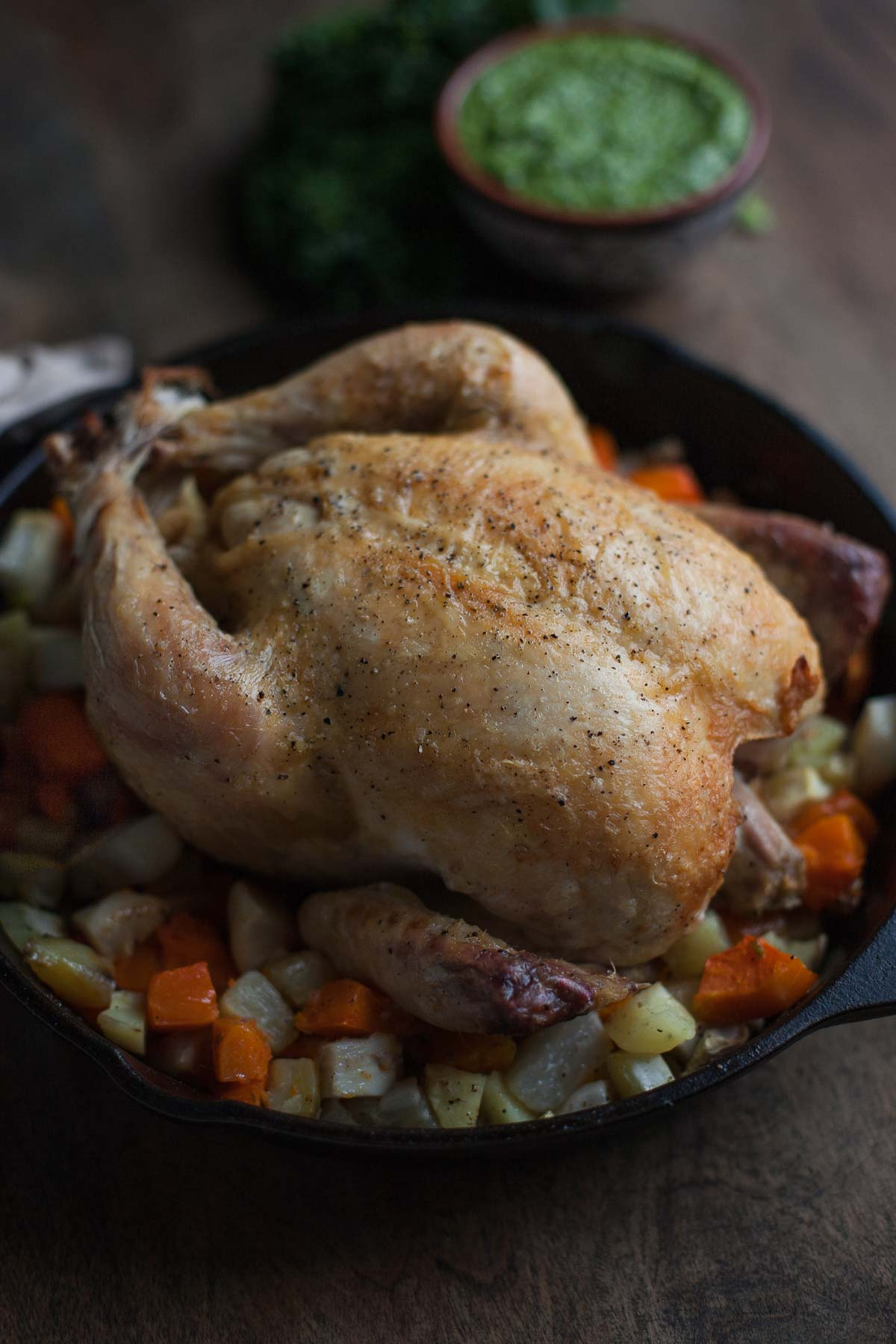 Simple Roast Chicken with Carrot Top-Kale Pesto